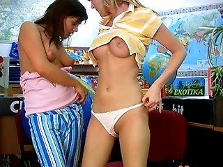 Lesbian, Natural Tits, Panties, Riding, Sex Toys, Teen, Young,