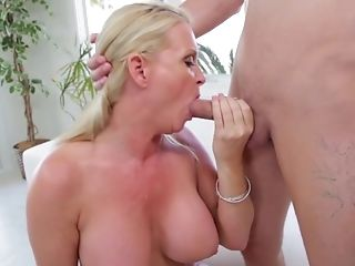 Big Tits, Blonde, Blowjob, Cum In Mouth, Cumshot, Deepthroat, Dick, Fake Tits, HD, Mature,