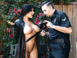Amazing, Babe, Big Tits, Brunette, Cop, Exhibitionist, Fake Tits, Flashing, Funny, MILF,