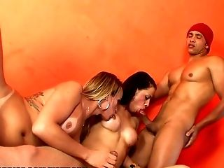 Anal Sex, Ass, Boots, Shemale, Spanish, Threesome, Tranny,