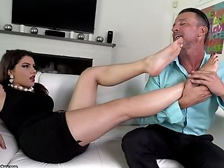 Bra, Brunette, Couple, Doggystyle, Felching, Fetish, Foot Fetish, Hardcore, Long Hair, Missionary,