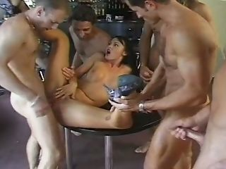 Bar, Beauty, Brunette, Cute, Gangbang, Hardcore, Horny, Laura Angel, Missionary, Rough,