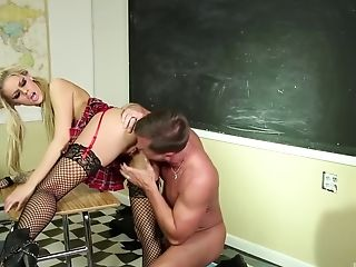 Big Natural Tits, Blonde, Blowjob, Classroom, Close Up, Couple, Face Fucking, Fishnet, Hardcore, Licking,