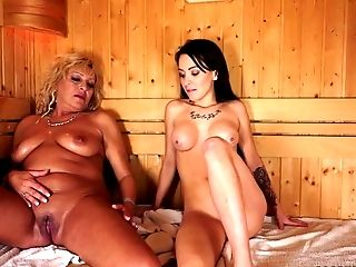 Granny, HD, Lesbian, Masturbation, Mature, Old And Young, Sauna,