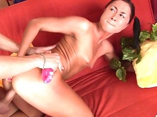 Boobless, Brunette, Dick, Friend, Horny, Panties, Ponytail, Russian, Sex Toys, Teen,