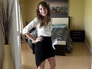 American, Bedroom, Blowjob, Cute, Lingerie, Money, POV, Skirt, Teen, Undressing,
