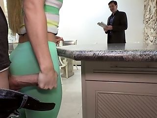 American, Blonde, Bold, Desk, Fucking, Kitchen, Riding, Tight Pussy, White, Young,