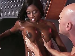 Black, Condom, Diamond Jackson, Hardcore, HD, Huge Tits, Interracial, Oiled, Rough, Tight Pussy,