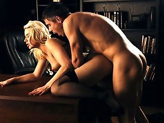Aaliyah Love, Anikka Albrite, Beauty, Blonde, Cum, Desk, From Behind, Hairy, Lingerie, Mature,